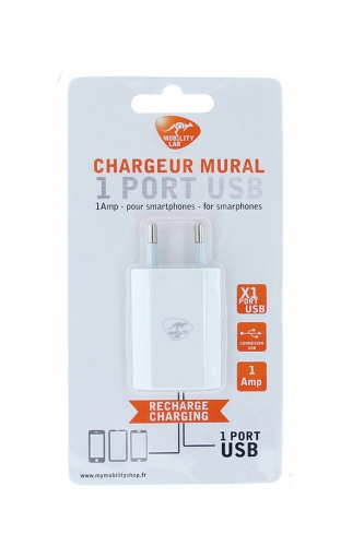 Chargeur mural port USB BLANC